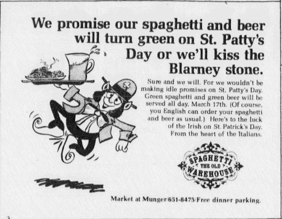 Spaghetti Warehouse ad that published in the March 17, 1977, issue of The Dallas Morning News.