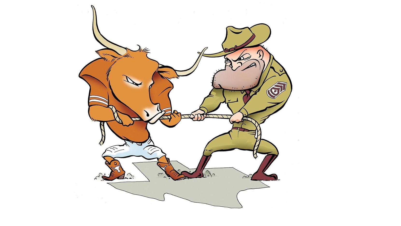 Texas vs. Texas A&M illustration.