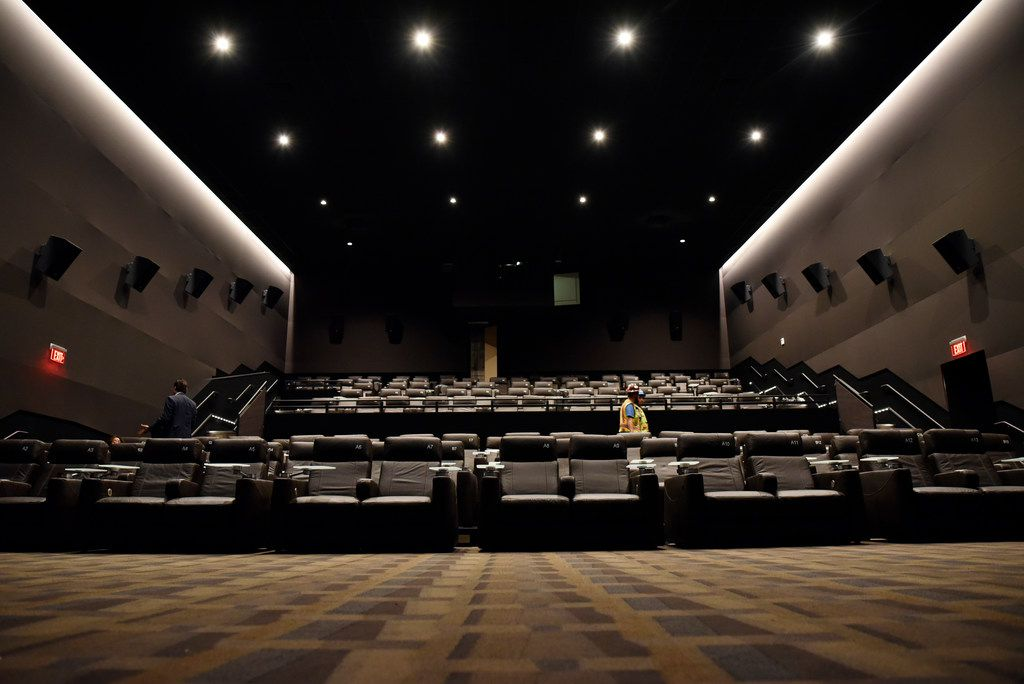 The front-row seats have plenty of space to view the movie screen comfortably inside the Cinépolis theater in Victory Park Dallas on June 29.
