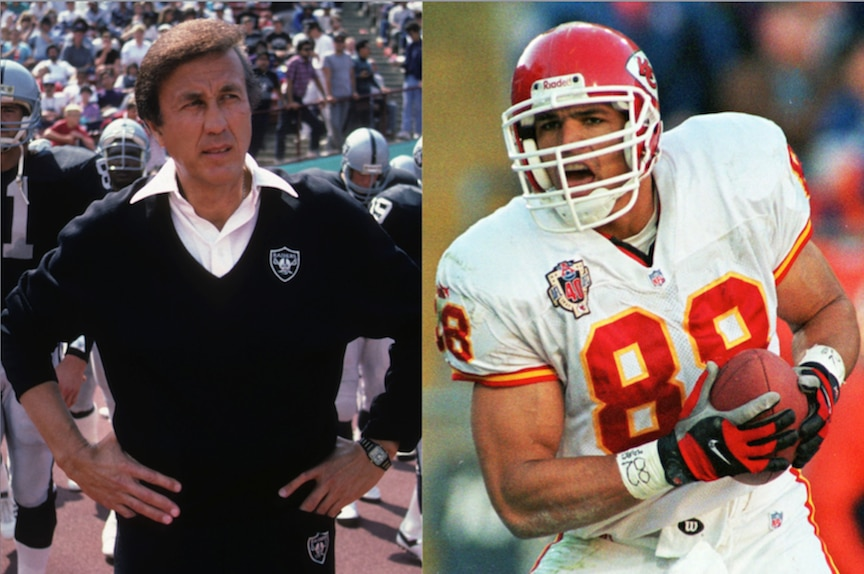 El ex entrenador Tom Flores y el ex receptor Tony Gonzalez. GATTY IMAGES/AP