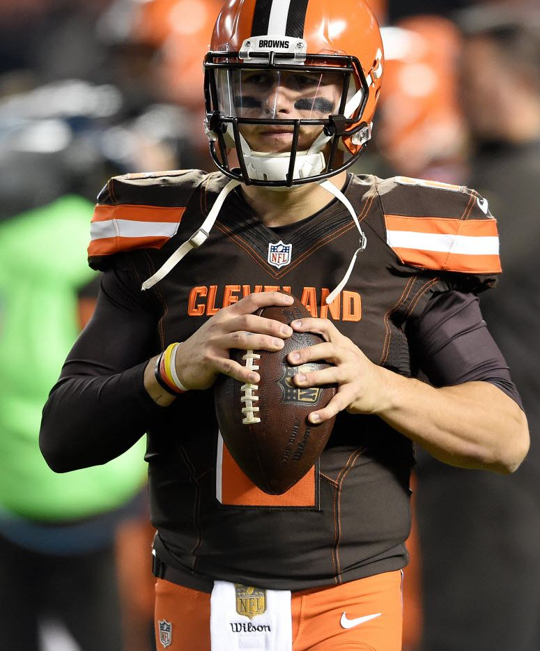 FILE - MARCH 11, 2016: It was reported that Johnny Manziel has been waived by the Cleveland Browns March 11, 2016. CLEVELAND, OH - NOVEMBER 30:  Johnny Manziel #2 of the Cleveland Browns warms up prior to the game against the Baltimore Ravens at FirstEnergy Stadium on November 30, 2015 in Cleveland, Ohio.