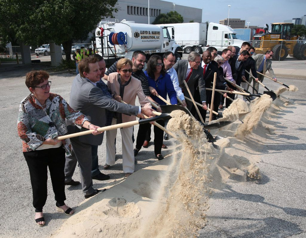 City and corporate officials perform a ceremonial groundbreaking for Dallas Midtown at the site of Valley View Mall in Dallas on Friday, June 23, 2017.  (Rose Baca/The Dallas Morning News)