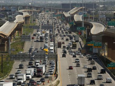 A look at I-35E just south of I-635 LBJ Freeway and the elevated toll roads that connect the two highways in Dallas. (File Photo/Staff)
