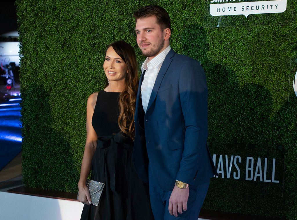 Mavs player Luka Doncic with his mother, Mirjam Poterbin, on the blue carpet prior to the Mavs Ball Million Air in Addison, Texas on March 7, 2020.