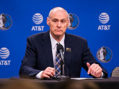 Dallas Mavericks head coach Rick Carlisle speaks to reporters after the Dallas Mavericks beat the Denver Nuggets 113-97 on Wednesday, March 11, 2020 at American Airlines Center in Dallas. During the game, the NBA suspended all games due to the spread of the new coronavirus.