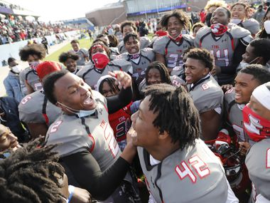 Cedar Hill High School free safety Kendall Stevens (2) leads his team in a victory cheer after the game as Denton Guyer High School played Cedar Hill High School in the Class 6A Division II, state semifinal at McKinney ISD Stadium in McKinney on Saturday, January 9, 2021.
