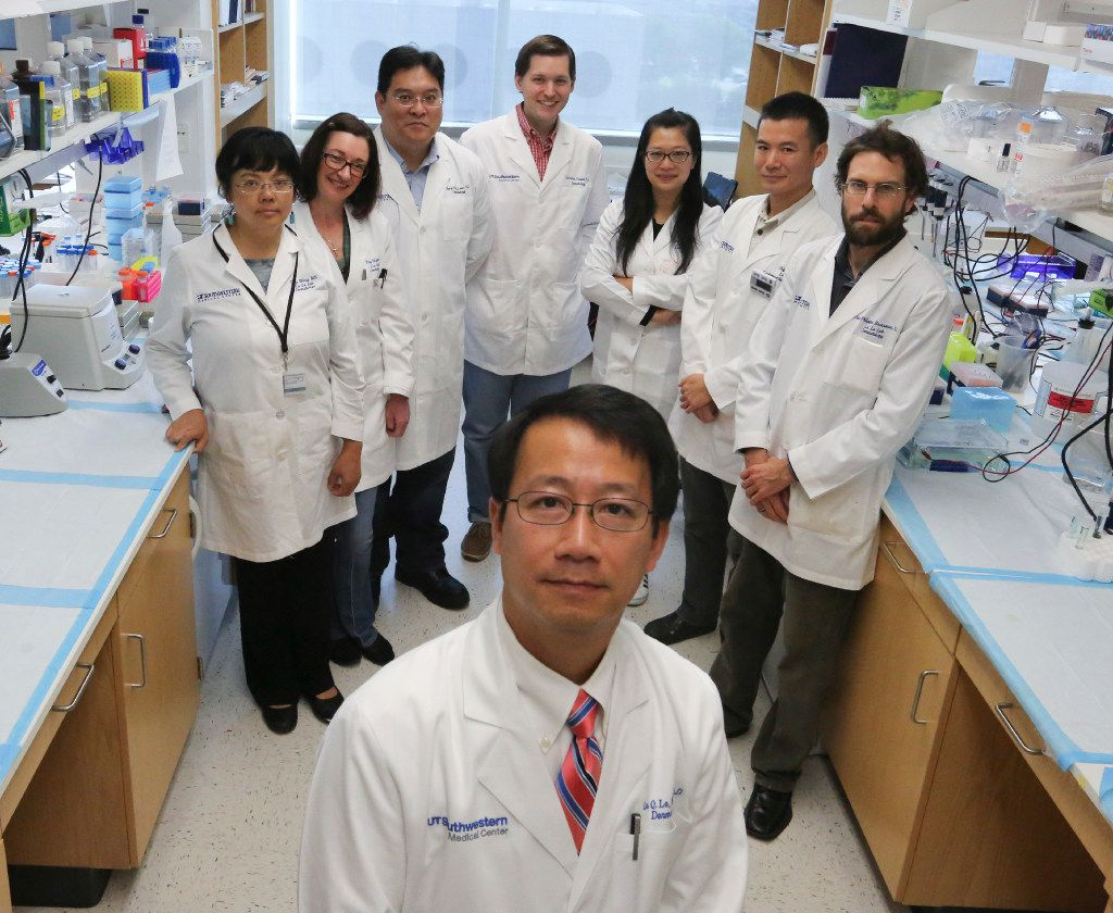 Dr. Lu Le of UT Southwestern Medical Center discovered a chemical and biological process that could explain gray hair and balding in people. Members of his team are (from left) Yong Wang, Tracey Shipman, Chung-Ping Liao, Jonathan Cooper, Juan Mo,  Zhiguo Chen and Jean-Philippe Broadway.