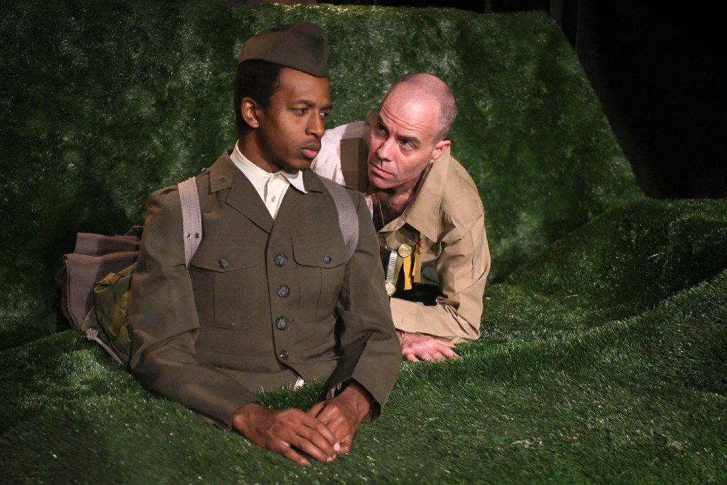 """Darren McElroy plays a soldier trapped in the ground and Mitchell Parrack is the madman who refuses to release him in Justin Locklear's """"Smile, Smile Again"""" at Ochre House."""