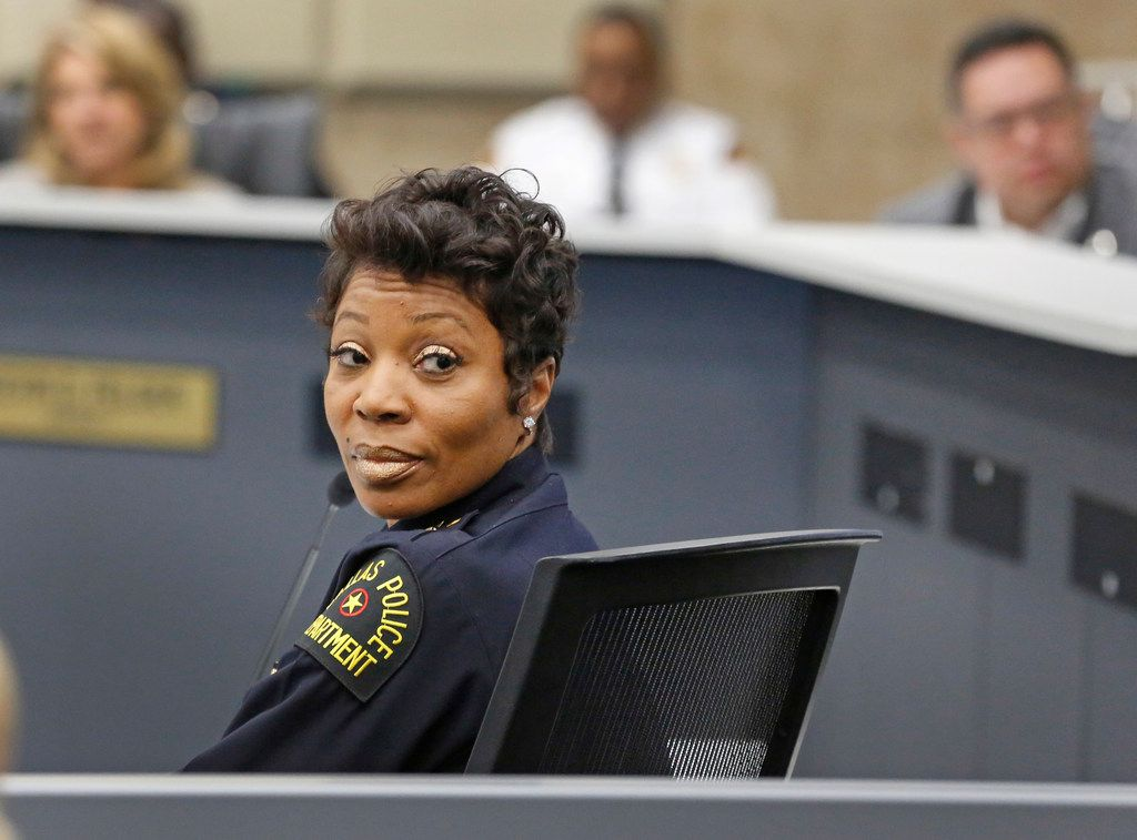 Dallas police Chief U. Renee Hall spoke at a Public Safety Committee meeting at City Hall on Monday, moments after it was announced that Amber Guyger had been fired from the department.