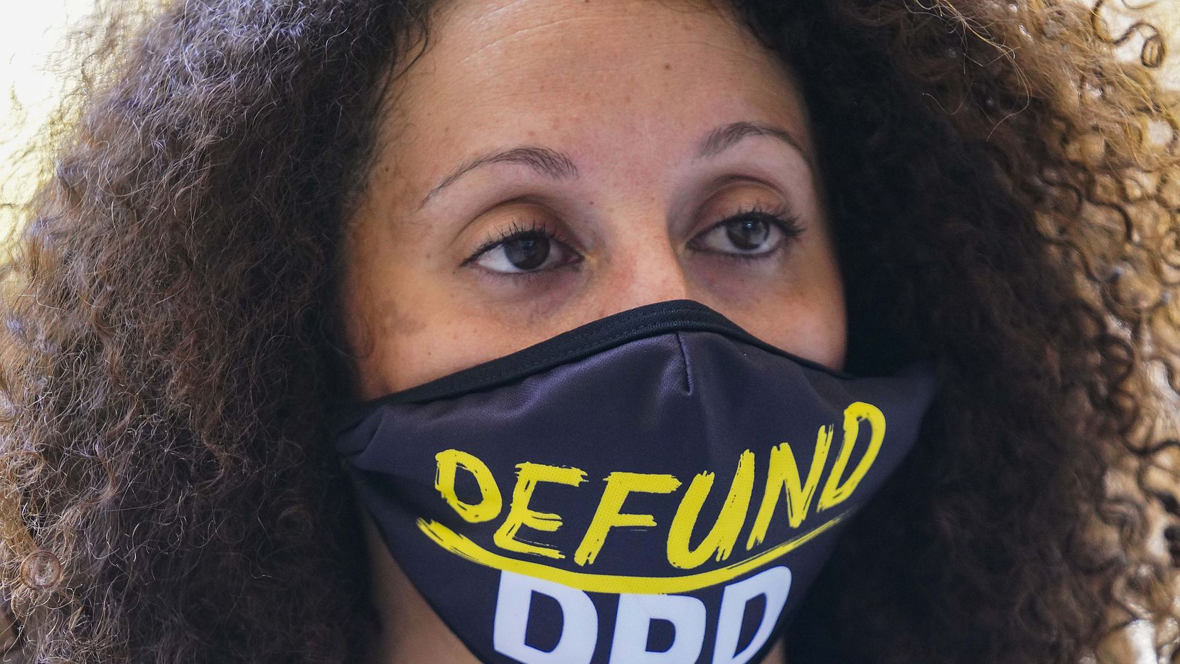 Sara Mokuria a co-founder of Mothers Against Police Brutality at Juneteenth at Dallas City Hall on Friday, June 19, 2020.  Mokuria is one of the authors of a list of proposals that calls for dramatic changes in the city's budget and police department. (Smiley N. Pool/The Dallas Morning News)