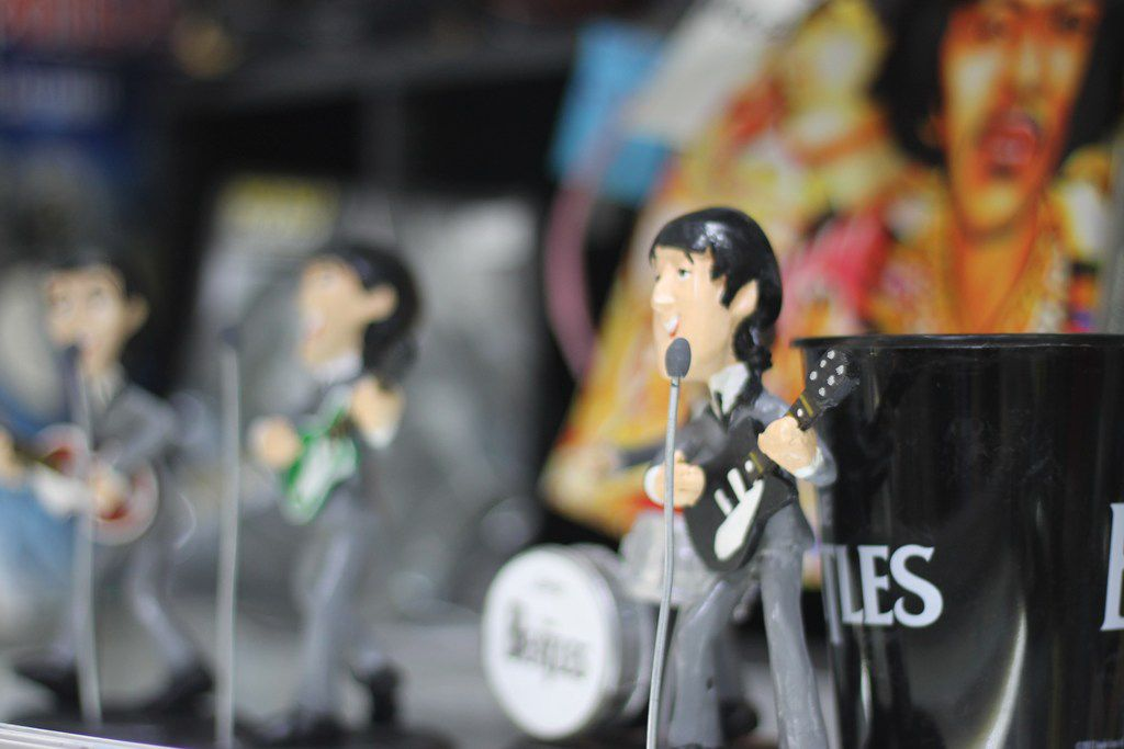 The inside of The Beatles shop is filled with paraphernalia to Ricardo Calderon's favorite band, including figurines made out of clay and wood made in Mexico.