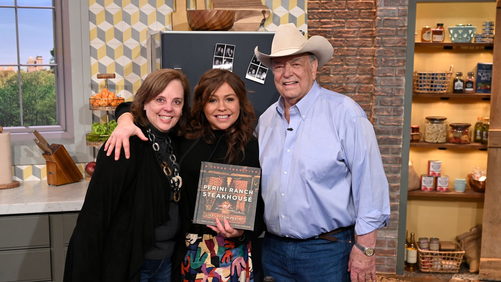 Tom Perini joined Rachael Ray (center) for a cooking demo on her show 'Rachael Ray.' Tom Perini and Lisa Perini (left) co-own beloved restaurant Perini Ranch Steakhouse in Buffalo Gap, Texas.