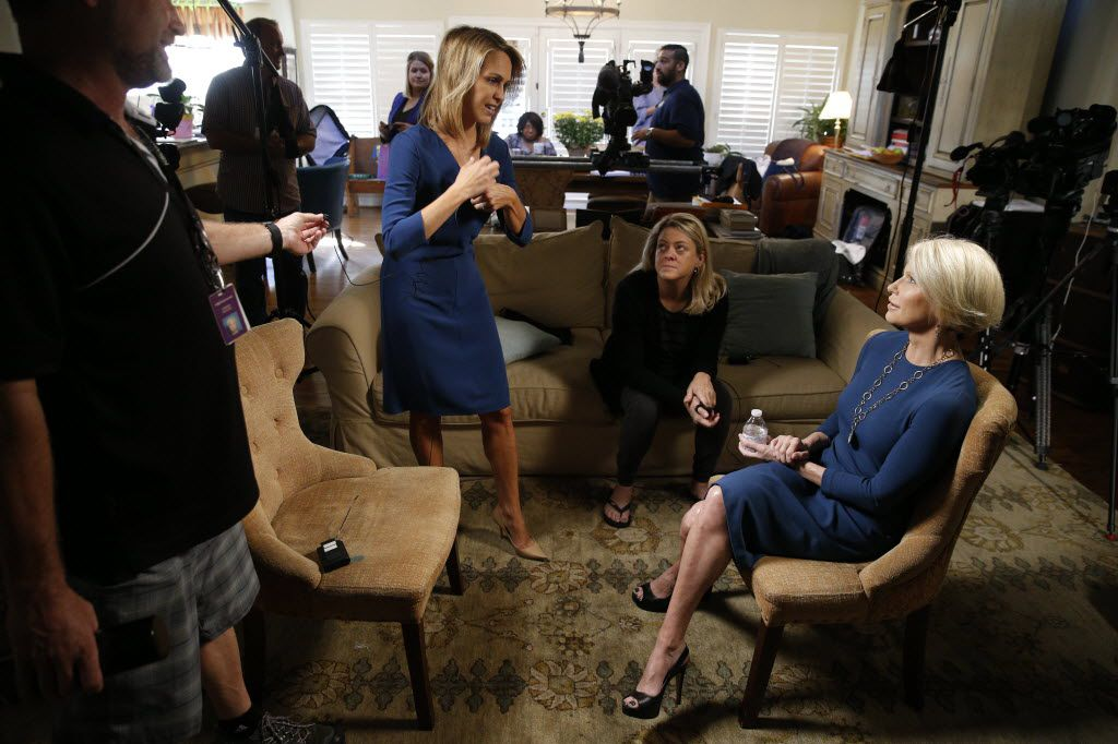 Dallas County DA Susan Hawk (right) and political adviser Mari Woodlief (center) sit down with television reporter Meredith Land (left) of KXAS-TV (Channel 5)before discussing her nine-week break from work and her plans going forward in Dallas Wednesday, October 7, 2015. (Nathan Hunsinger/Staff Photographer)