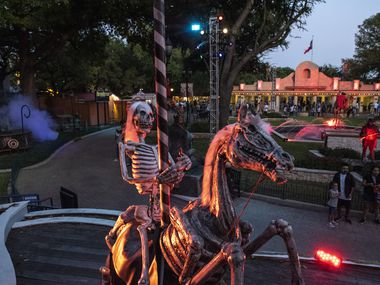 Six Flags in Arlington is decorated for Halloween.