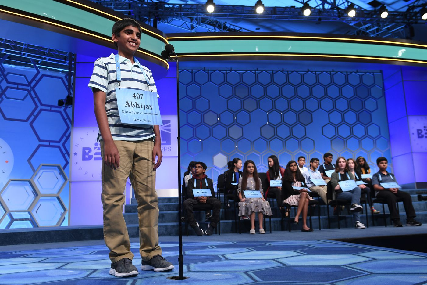Abhijay Kodali, 12, of Flower Mound, Texas, competes in the finals of the Scripps National Spelling Bee in Oxon Hill, Md., Thursday, May 30, 2019. (AP Photo/Susan Walsh)
