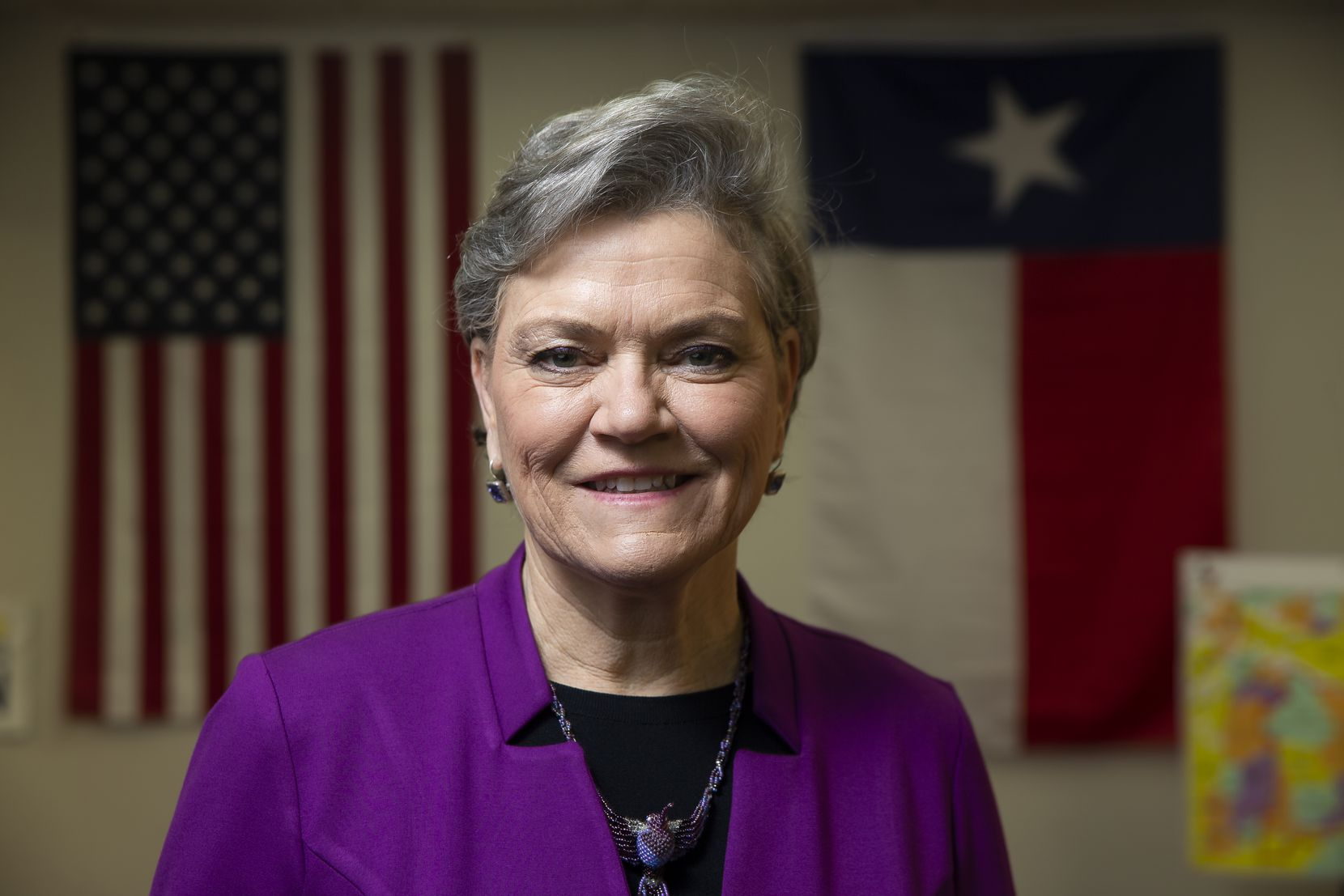 Kim Olson, a Democratic candidate for the 24th Congressional District of Texas, at her campaign office in Euless.