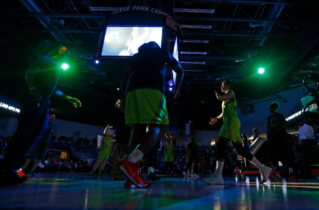 Dallas Wings guard Skylar Diggins-Smith (4) is introduced prior to the tip-off against Seattle Storm at College Park Center in Arlington, Texas, Saturday, July 1, 2017. (Jae S. Lee/The Dallas Morning News)