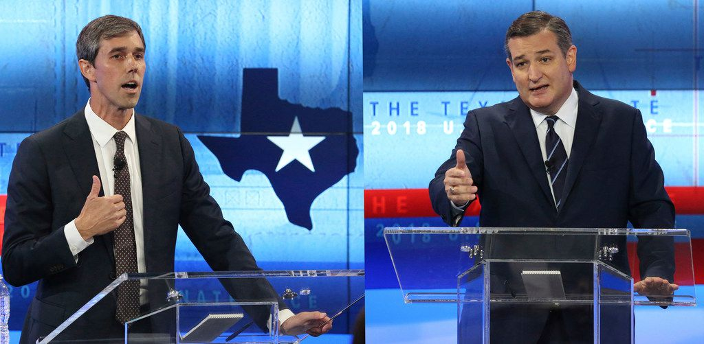 A composite of two photos shows U.S. Rep. Beto O'Rourke, D-El Paso, (left) and  U.S. Senator Ted Cruz, R-Texas, (right) during a debate at the KENS 5 Studios in San Antonio, Texas, on October 16, 2018. (Tom Reel/San Antonio Express-News, Pool)