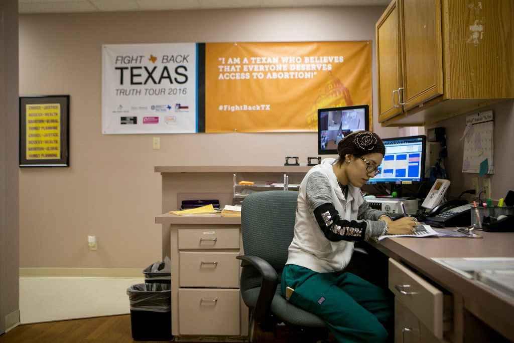 Sophia Ruiz, a patient advocate, at work at the Whole Woman's Health clinic in San Antonio, Texas, Feb. 24, 2016. A federal judge on Aug. 31, 2017 temporarily blocked a Texas law that would restrict the most common type of second-trimester abortion.