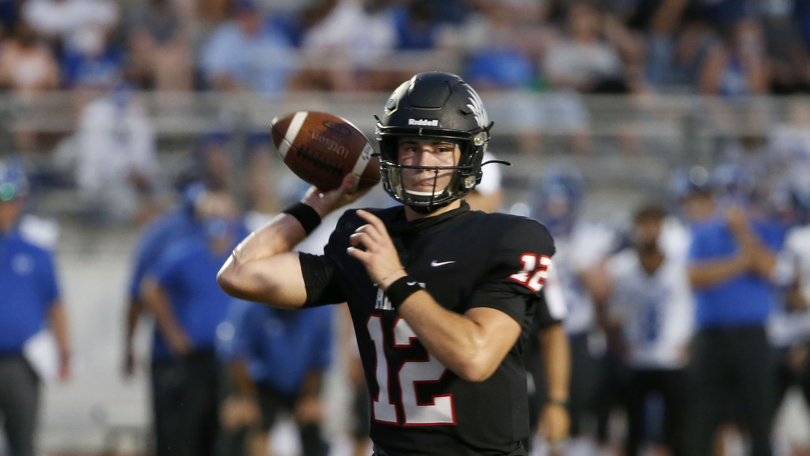 Argyle quarterback CJ Rogers (12) throws during a high school football game against Decatur in Argyle, Tx, on August 28, 2020.    ORG XMIT: Argyle27