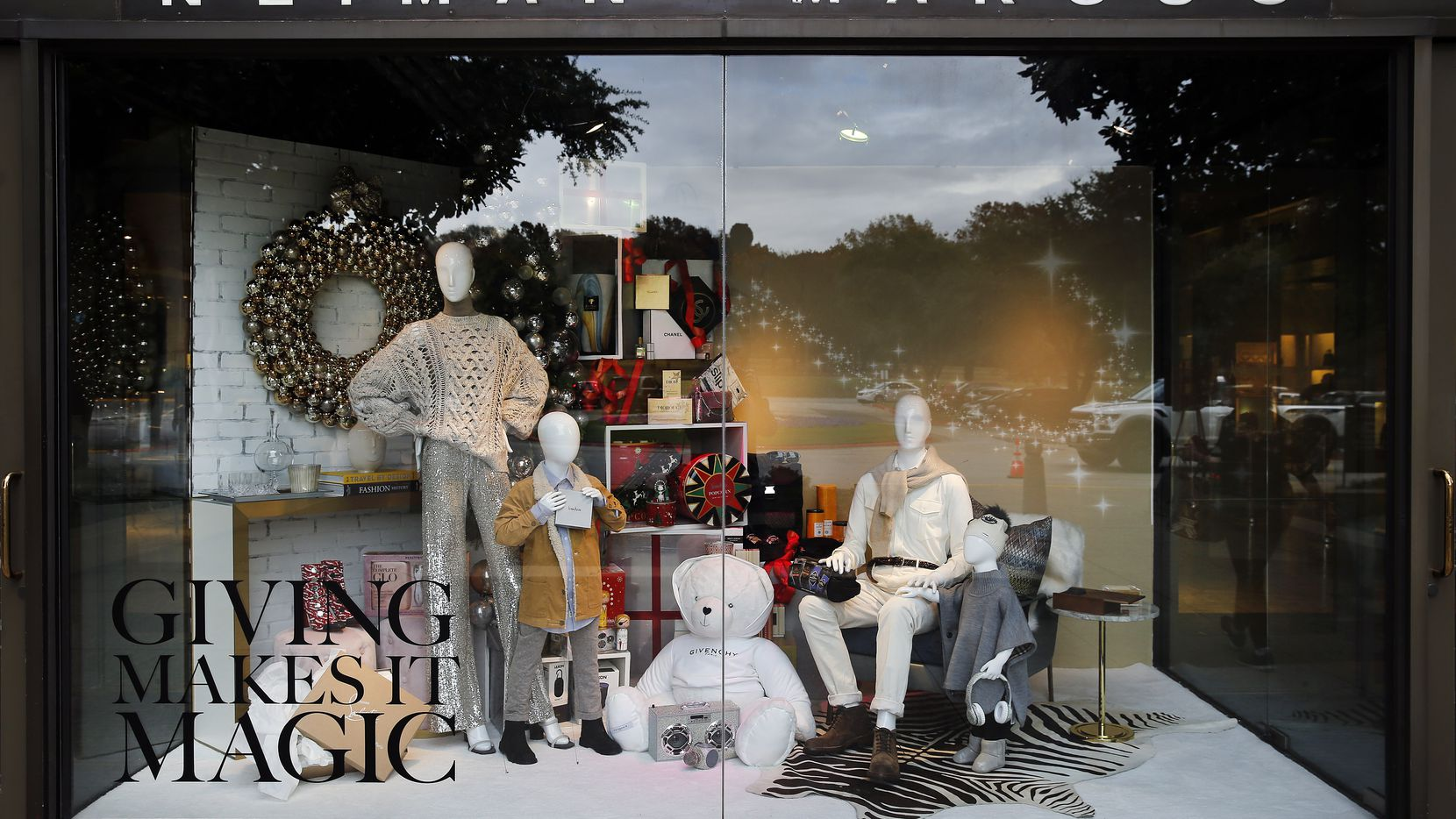 A view of the Neiman Marcus Christmas window display at NorthPark Center in Dallas.