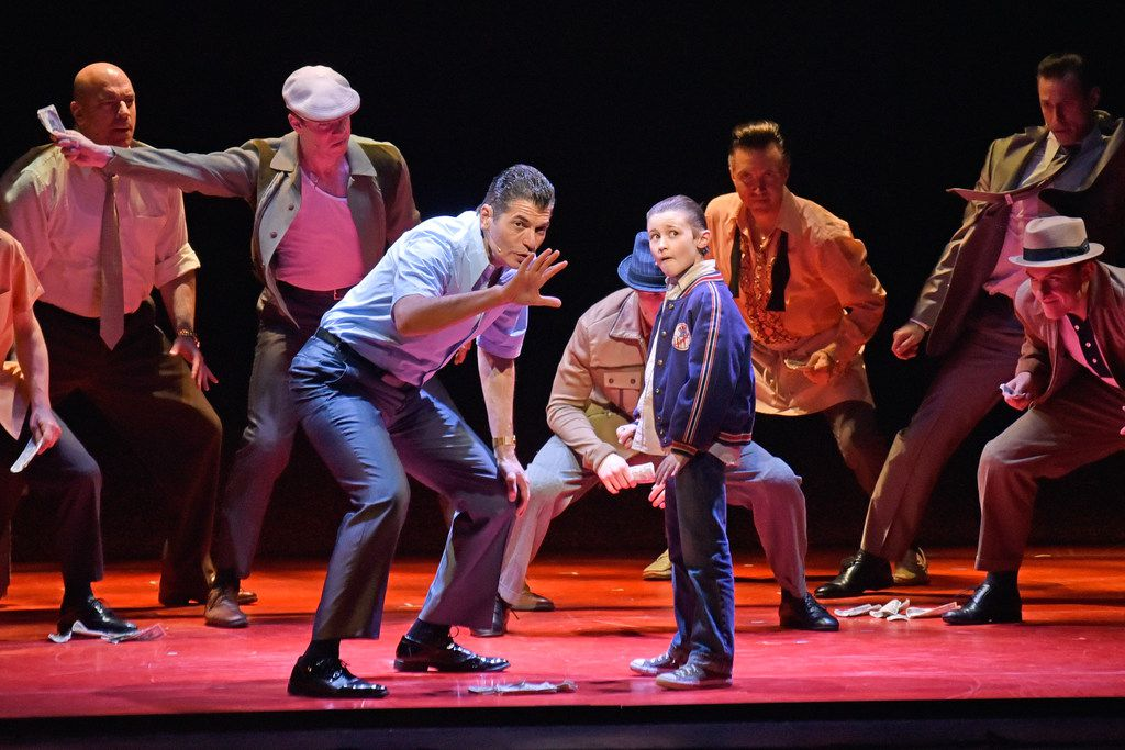 Joe Barbara as Sonny (left) and Frankie Leoni as Young Calogero in A Bronx Tale, presented by AT&T Performing Arts Center at the Winspear Opera House.
