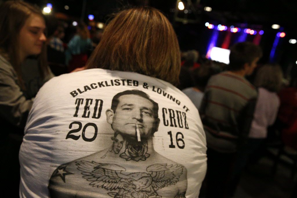 Shirts like this one, from Ted Cruz's presidential run in 2016, are fine to wear to rallies and conventions. But if you wear it to the polls, be prepared to turn it inside out or face a Class C misdemeanor.