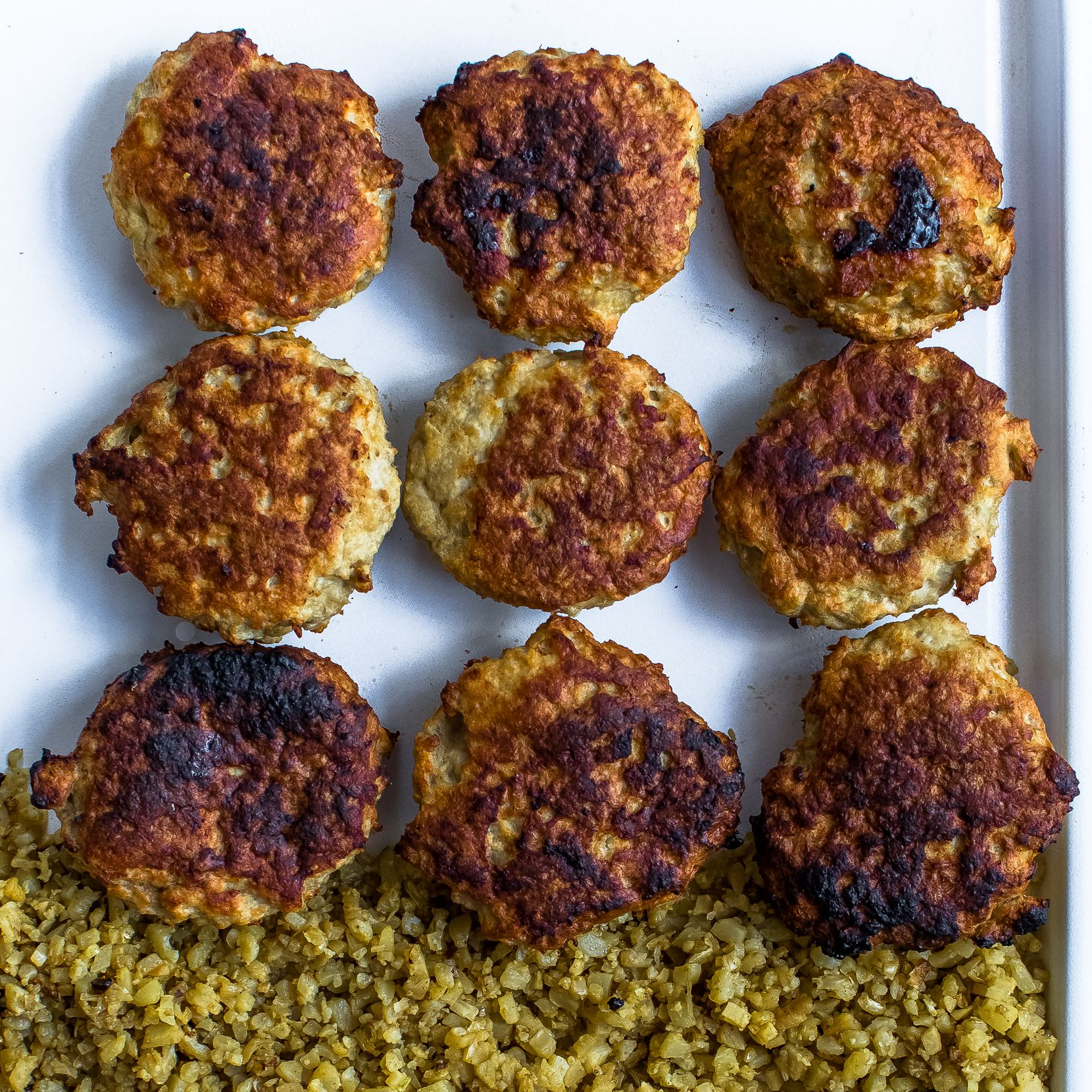 Baked Turkey Patties with Cauliflower Rice is an easy weeknight meal.