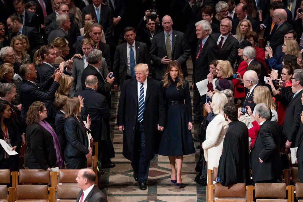 President Donald Trump and first lady Melania Trump arrive for a National Prayer Service on Saturday at the National Cathedral. (Andrew Harnik/The Associated Press)