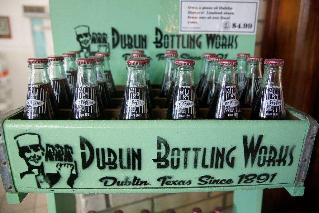 A limited stock of collectible Dublin Dr Pepper from one of the last runs before the bottling contract ended is available for $4.99 per bottle (not meant for consumption) in Old Doc's Soda Shop at the Dublin Bottling Works in Dublin. (Guy Reynolds/The Dallas Morning News)