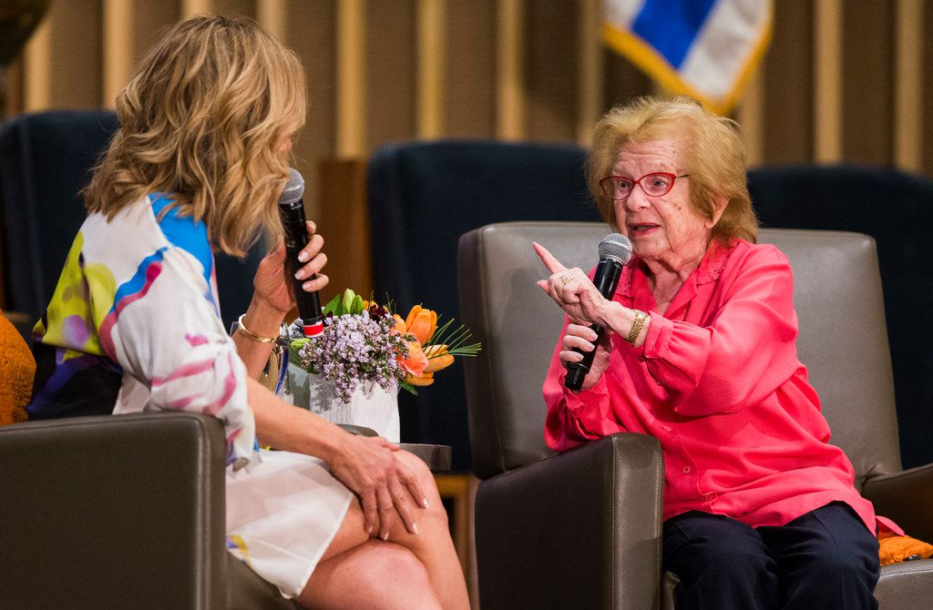Noted sex therapist Dr. Ruth is interviewed by WFAA's Jane McGarry at a fundraiser event for the Dallas Holocaust Museum Center for Education and Tolerance on April 11, 2019, at Congregation Shearith Israel in Dallas.