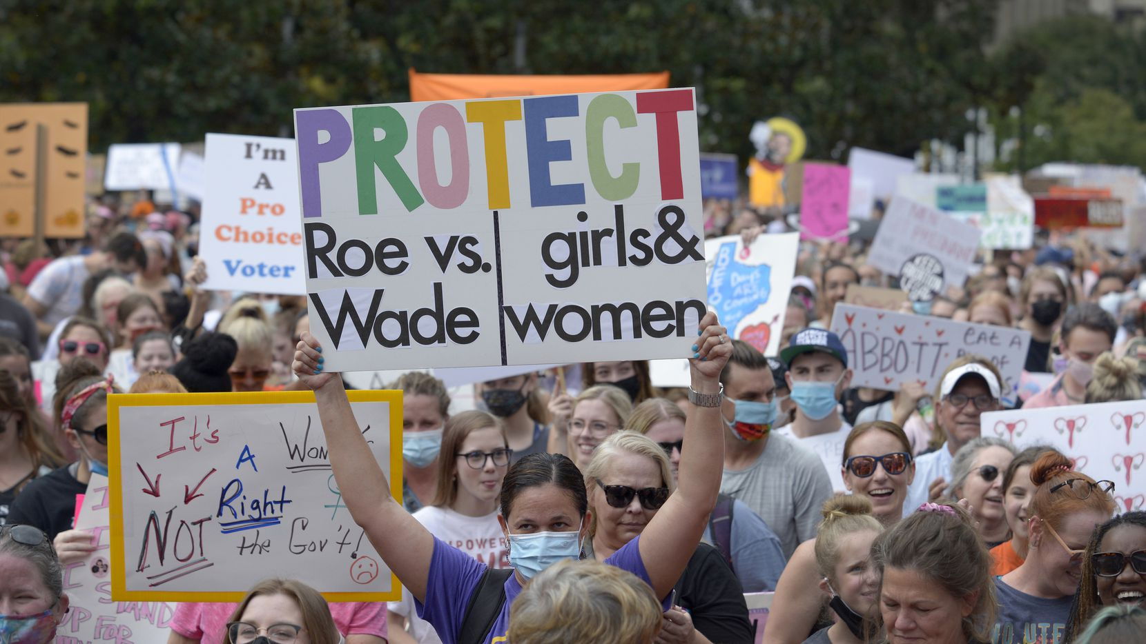 An estimated 3,000 demonstrators filled Main Street Garden Park and marched on nearby streets in downtown Dallas to rally in favor of stronger protections for women's reproductive rights on Saturday, Oct. 2, 2021.