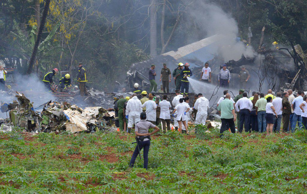Picture taken at the scene after a Cubana de Aviacion aircraft crashed after taking off from Havana's Jose Marti airport on May 18, 2018.
