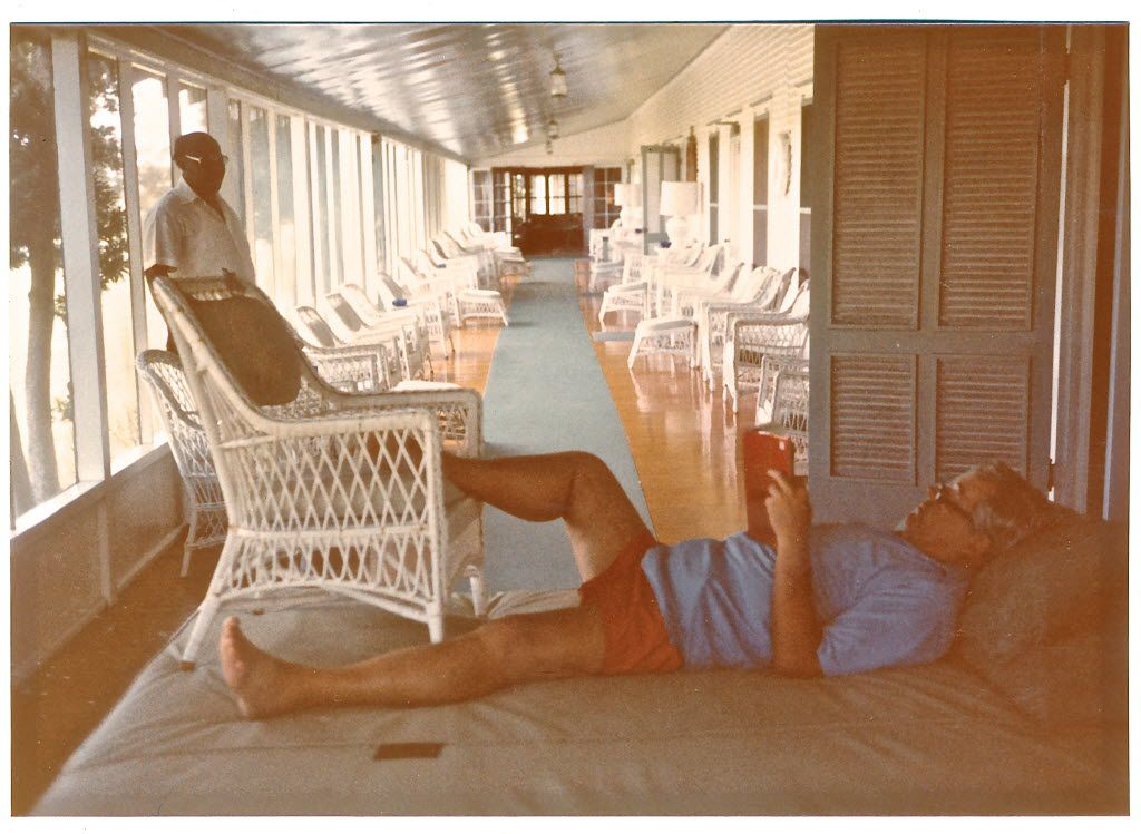 Toddie Lee Wynne Jr. is seen relaxing on the veranda at the Wynne house on Matagorda Island. On the same veranda, his father entertained President Franklin Roosevelt in 1937.