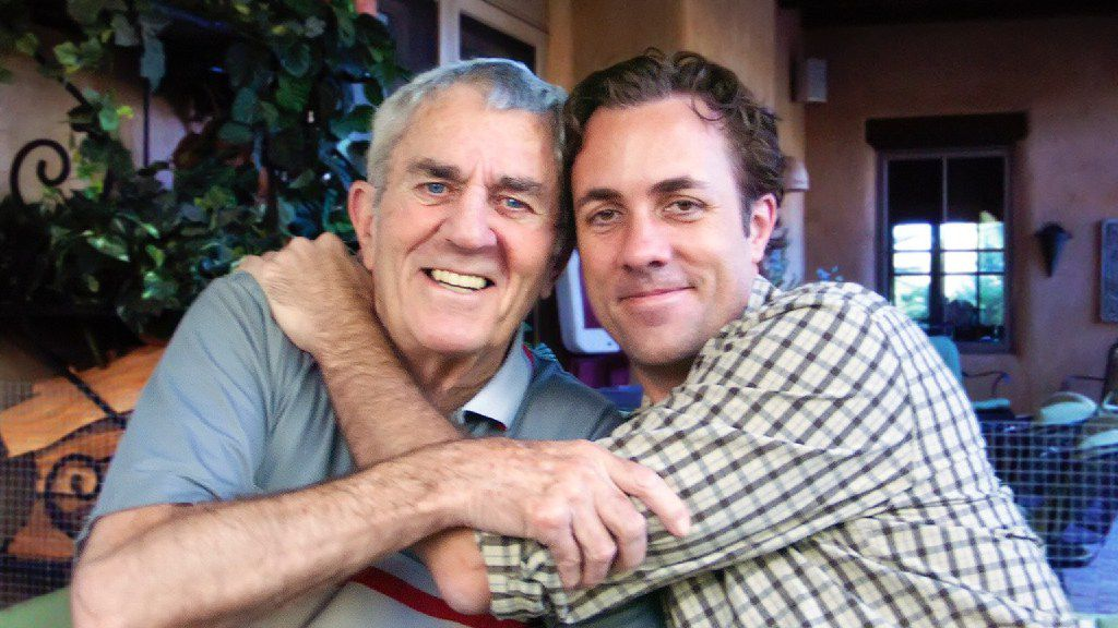 This photograph was taken on Sept. 5, 2010, three months before Dallas Cowboys great Don Meredith (left) died (on Dec. 5, 2010). On the right is Meredith's only son, Michael Meredith, a screenwriter and filmmaker who's working on a film about the Cowboys of the 1960s.