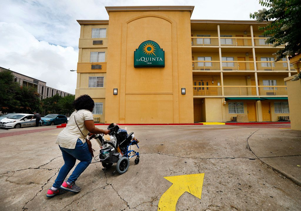 After testifying before members of the House Committee on Human Services, Linda Badawo of Mesquite, Texas pushes her 3 yr-old son D'ashon Morris back to their Austin hotel, Wednesday, June 20, 2018. Linda and D'ashon were part of a recent Dallas Morning News story regarding Medicaid managed care and the Health and Human Services Commission. Badawo asked to speak and was granted permission to do so before the panel in Austin, Wednesday, June 20, 2018.