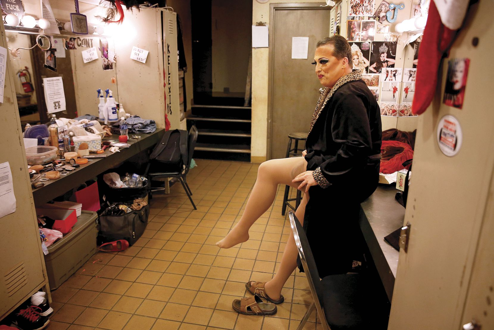 """James Love put on his pantyhose before performing as """"Cassie Nova""""€ at Sue Ellen's in Dallas on June 14, two days after the slaughter of 49 people at a gay nightclub in Orlando. Love said he hoped his performance could promote healing."""