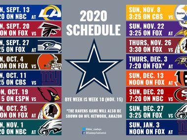 Cowboys' 2020 schedule.