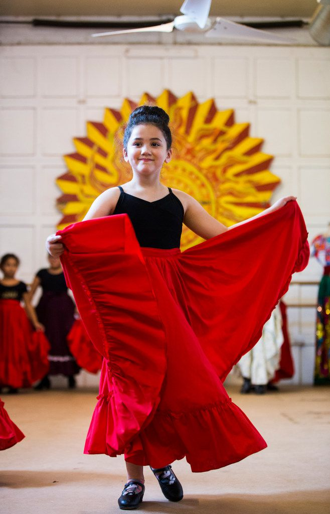 Eva Johnson, 7, dances during company auditions at the Anita N. Martinez Ballet Folklorico.