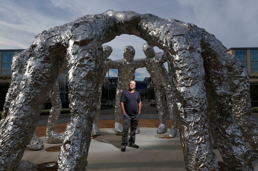 Artist Tom Friedman stood inside the creation he calls Huddle at The Star in Frisco on Sunday, Aug. 27.