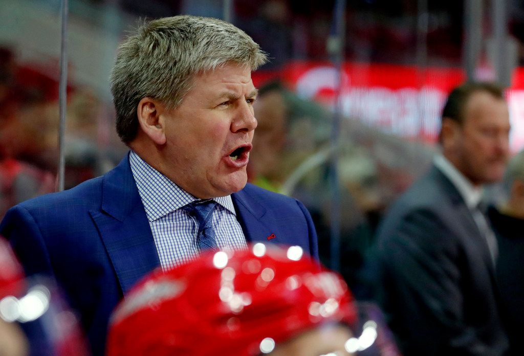 Carolina Hurricanes head coach Bill Peters directs the team during the first period against the Edmonton Oilers at PNC Arena in Raleigh, N.C., on Tuesday, March 20, 2018. (Chris Seward/Raleigh News & Observer/TNS)
