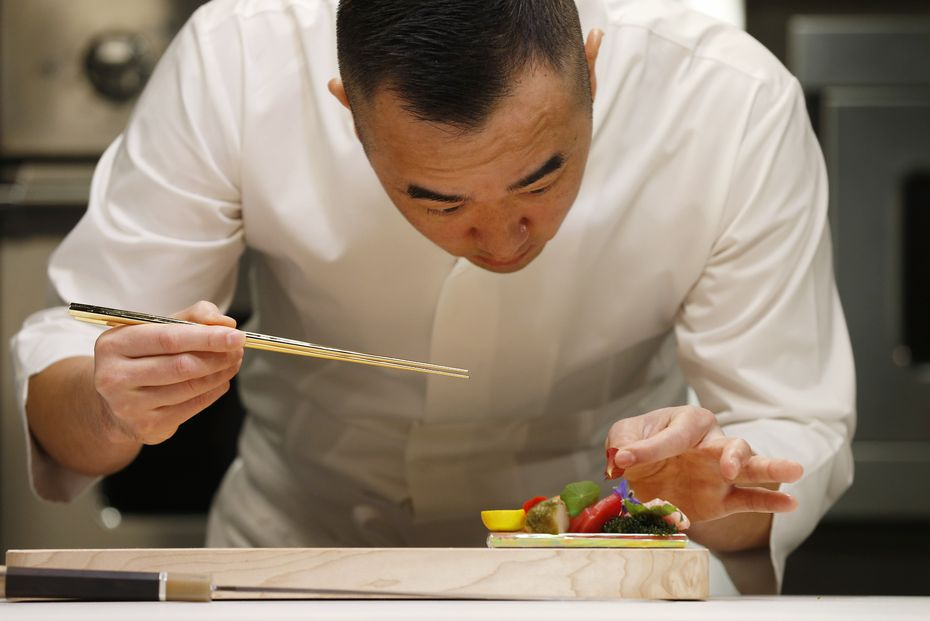 Chef Jimmy Park plates a raw fish dish expected to make the menu at his coming-soon restaurant in Dallas in 2021.