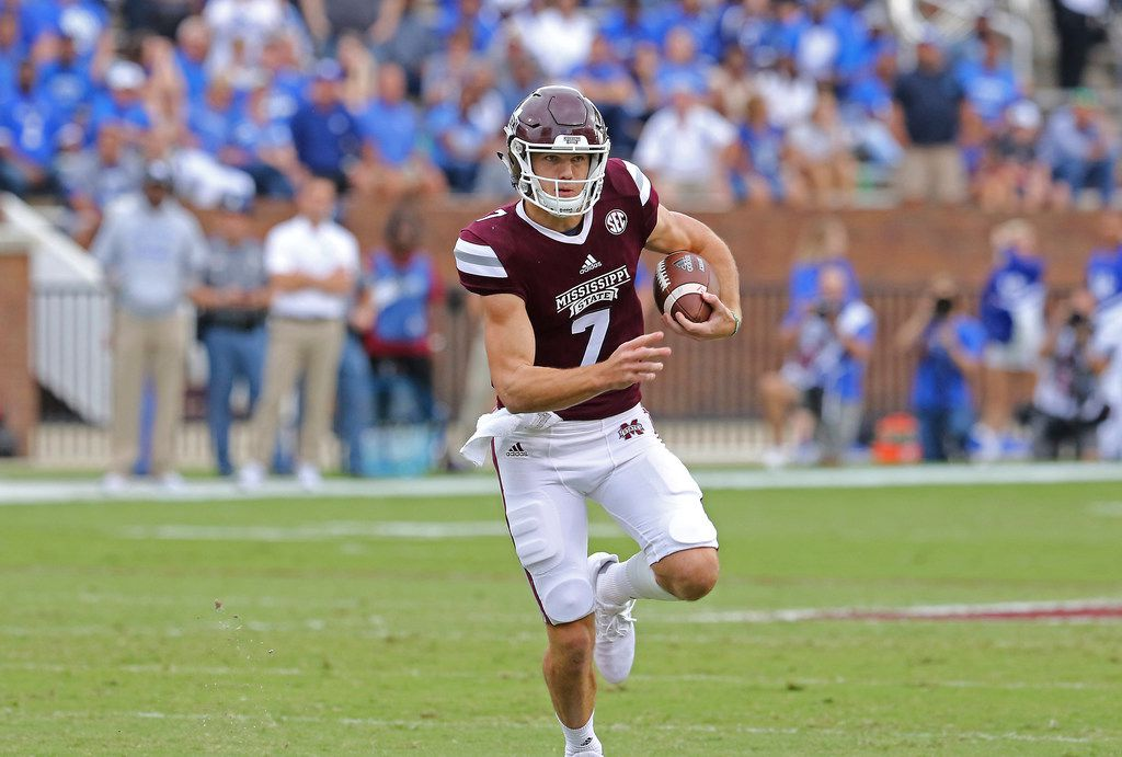Mississippi State quarterback Nick Fitzgerald (7) sprints downfield during the first half of an NCAA college football game against Kentucky in Starkville, Miss., Saturday, Oct. 21, 2017. (AP Photo/Jim Lytle)