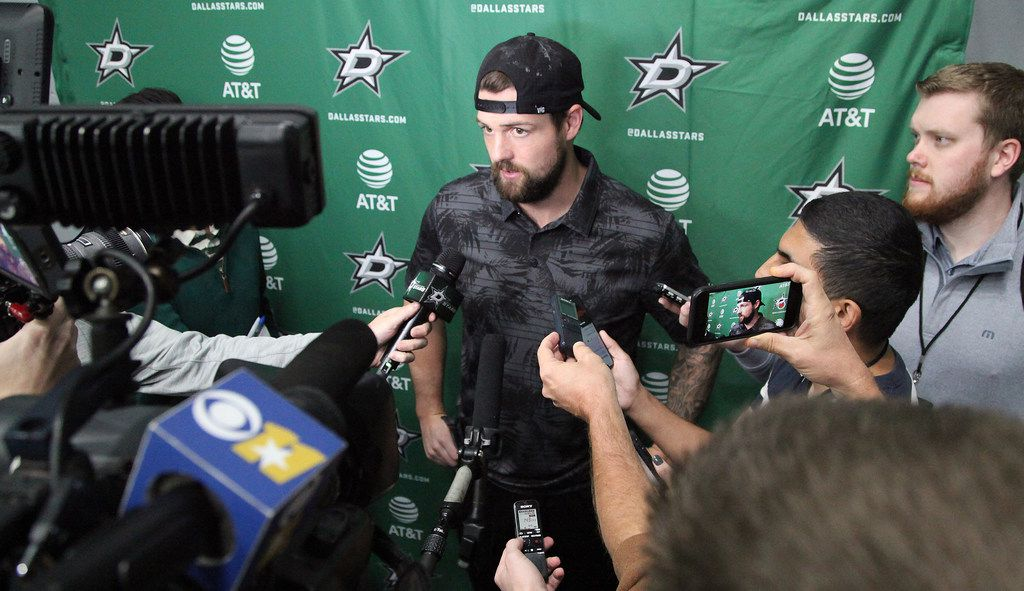 Dallas Stars left wing Jamie Benn anwers questions for the media at the Dallas Stars training camp held at the Comerica Center in Frisco on Friday, September 13, 2019.