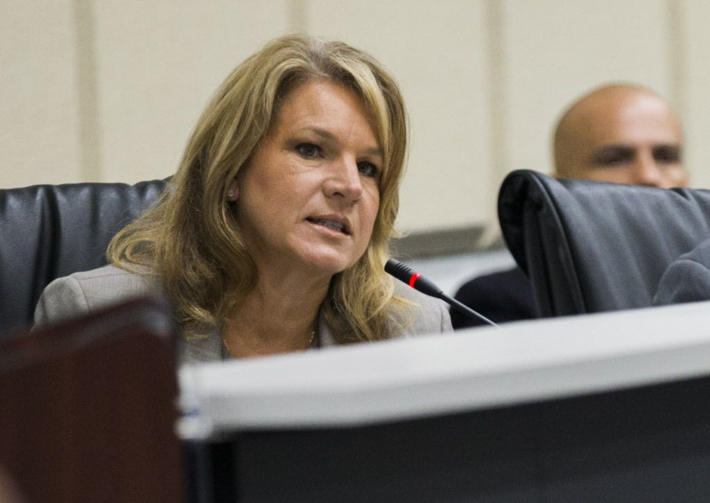 City Council member Jennifer Staubach Gates during a budget discussion at Dallas City Hall earlier this year.