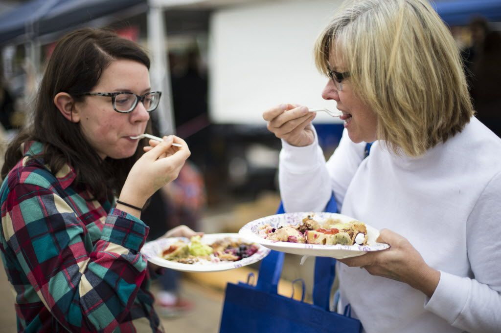 Allyson and Sandi Schaefers sample pies during Good Local Market's seventh annual Battle of the Pies on Nov. 15, 2015.