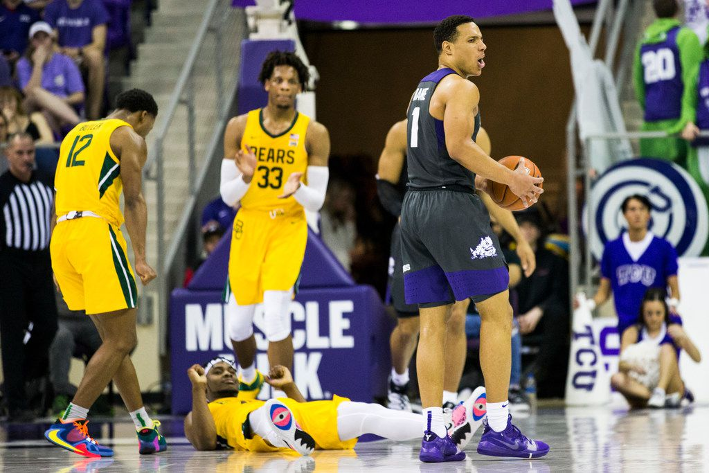 TCU Horned Frogs guard Desmond Bane (1) reacts after he fouls Baylor Bears guard Davion Mitchell (45) during the first half of an NCAA mens basketball game between Baylor and TCU on Saturday, February 29, 2020 at Ed & Rae Schollmaier Arena on the TCU campus in Fort Worth. (Ashley Landis/The Dallas Morning News)