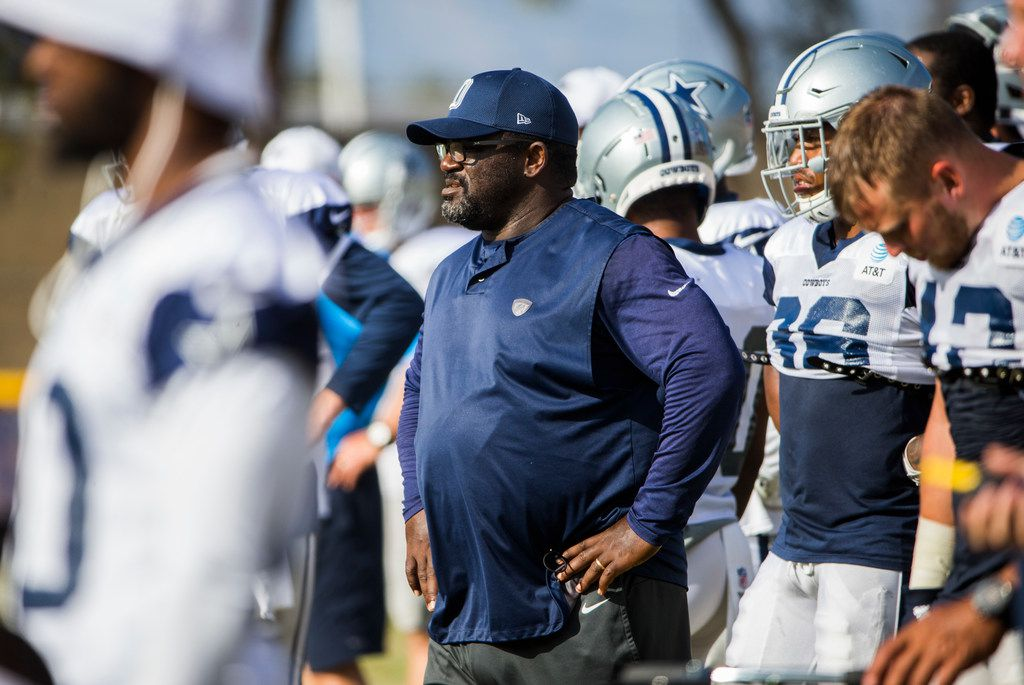 Dallas Cowboys running backs coach Gary Brown stands on the sideline during an afternoon practice at training camp in Oxnard, California on Tuesday, August 13, 2019. (Ashley Landis/The Dallas Morning News)