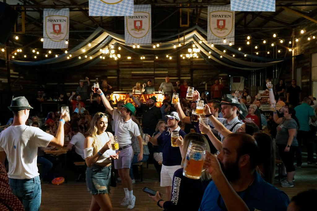 Festival goers toast during the Fort Worth Oktoberfest in 2018.