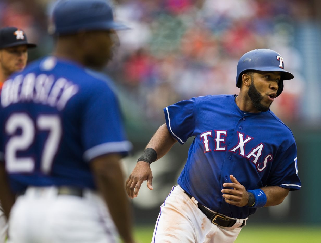 Texas Rangers shortstop Elvis Andrus (1) rounds third base after a hit by DH Adrian Beltre (29, not pictured) during the sixth inning of an MLB game between the Texas Rangers and the Houston Astros on Sunday, April 1, 2018 at Globe Life Stadium in Arlington, Texas. (Ashley Landis/The Dallas Morning News)